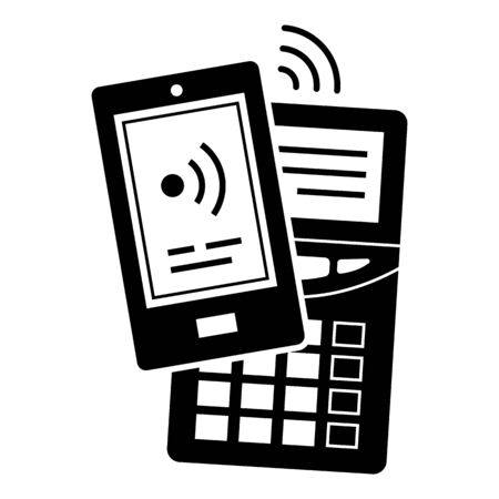 Smartphone terminal payment icon, simple style 일러스트