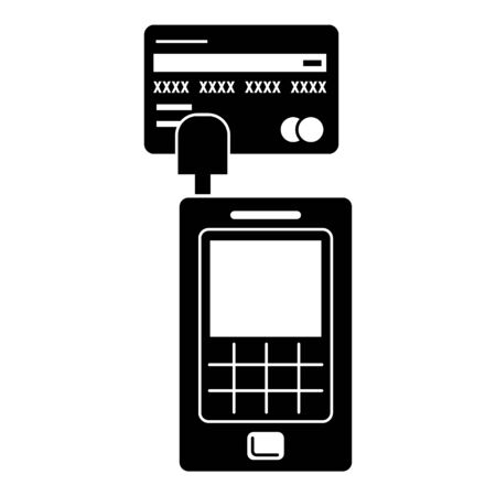 Credit card terminal icon, simple style Illustration
