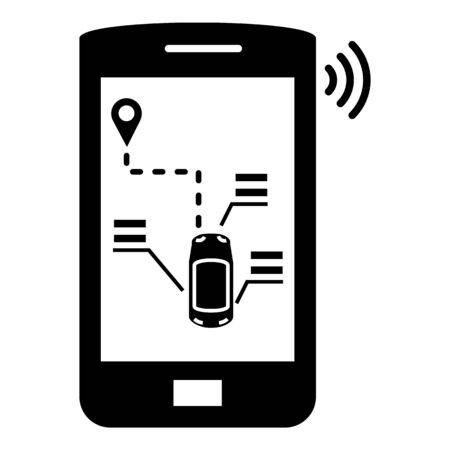 Smartphone car control icon, simple style