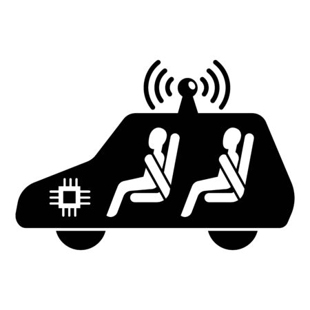 Test driverless car icon. Simple illustration of test driverless car vector icon for web design isolated on white background