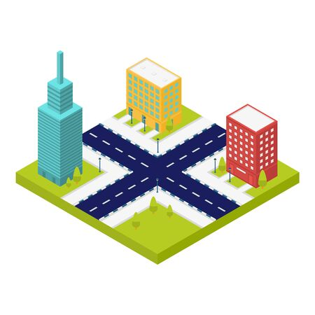 City intersection road icon, isometric style