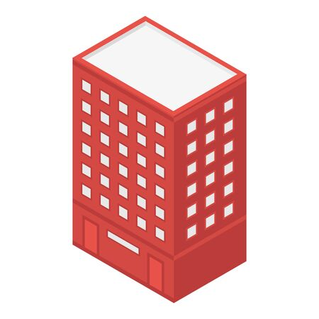 Red city building icon, isometric style