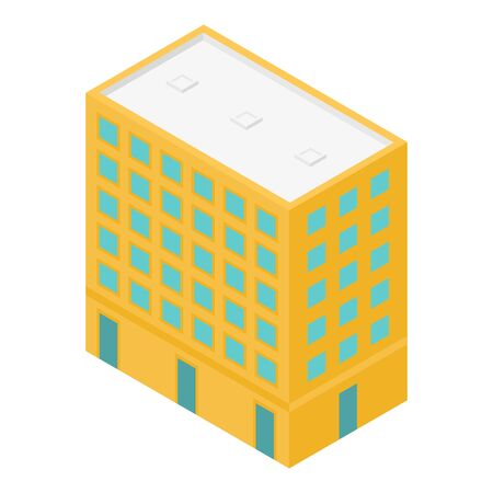 Yellow city building icon. Isometric of yellow city building vector icon for web design isolated on white background