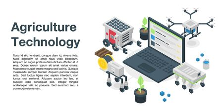 Agriculture technology concept banner, isometric style
