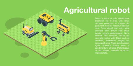 Agricultural robot concept banner, isometric style 矢量图像