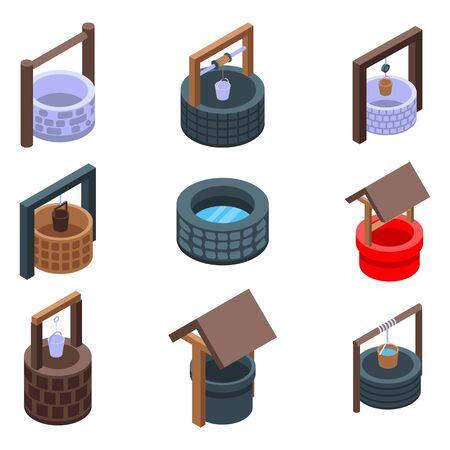 Water well icons set, isometric style Illusztráció