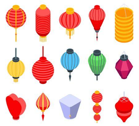 中国のランタンアイコンセット、アイソメトリックスタイル