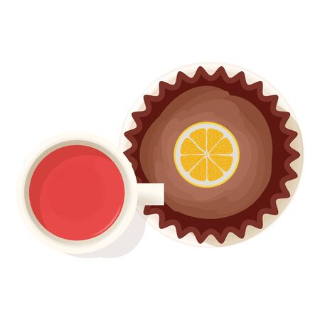 Tea time icon, isometric style