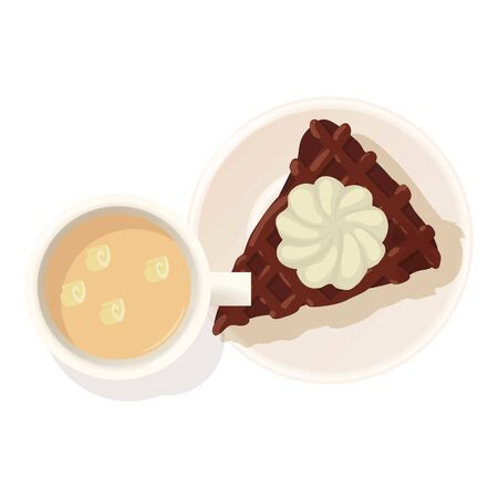 Chocolate cheesecake icon, isometric style