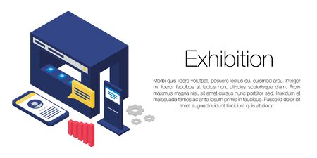 Exhibition concept banner, isometric style