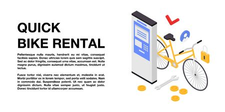 Quick bike rental concept banner, isometric style