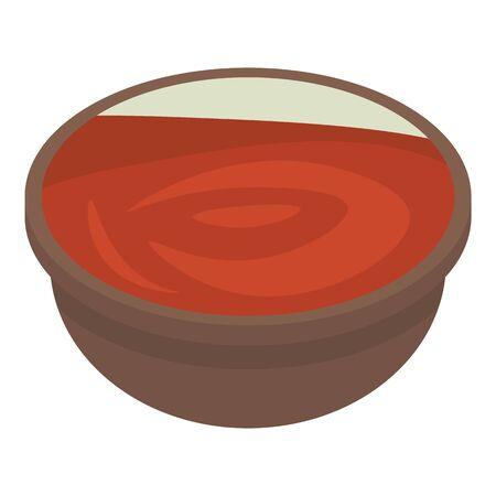 Tomato soup icon. Isometric of tomato soup vector icon for web design isolated on white background