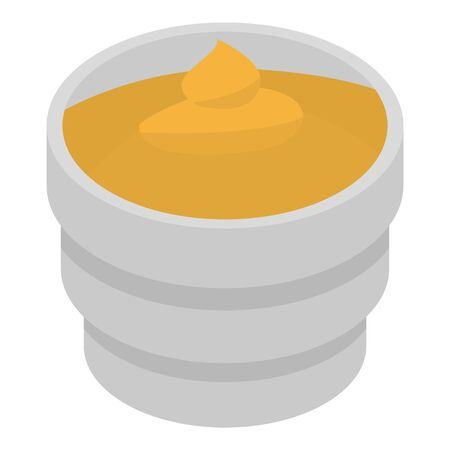 Food mustard icon. Isometric of food mustard vector icon for web design isolated on white background Çizim