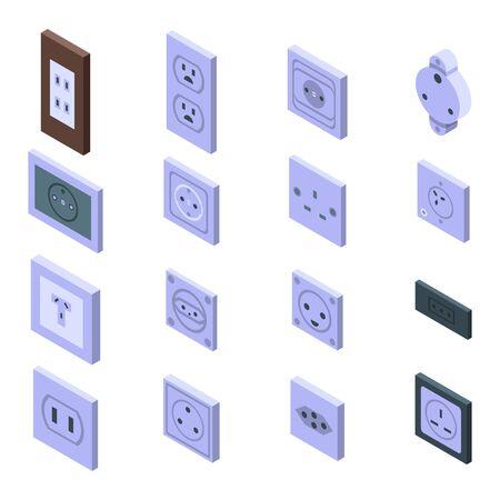 Power socket icons set. Isometric set of power socket vector icons for web design isolated on white background