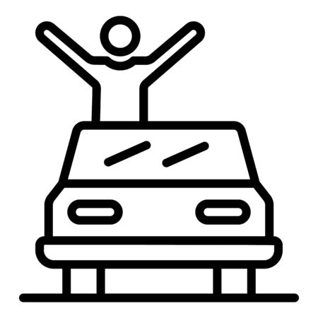 Celebrity on cabriolet icon, outline style