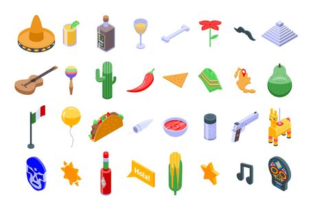 Mexico icons set, isometric style