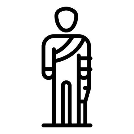 Sad injury man icon, outline style