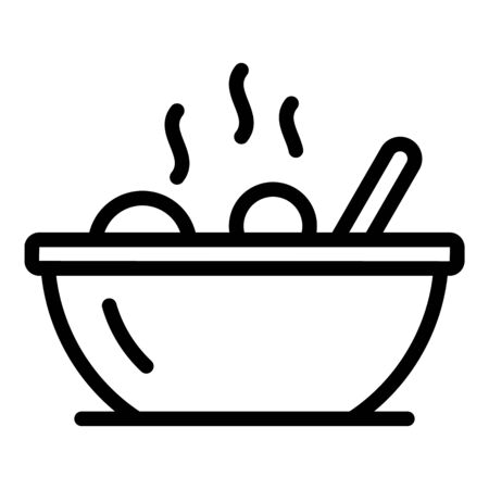 Food bowl icon, outline style Illustration