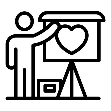Man show care icon, outline style