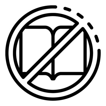 No book reading icon, outline style 向量圖像
