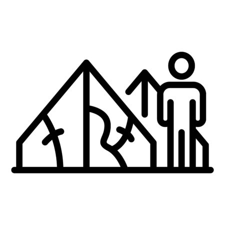 Homeless man tent icon, outline style