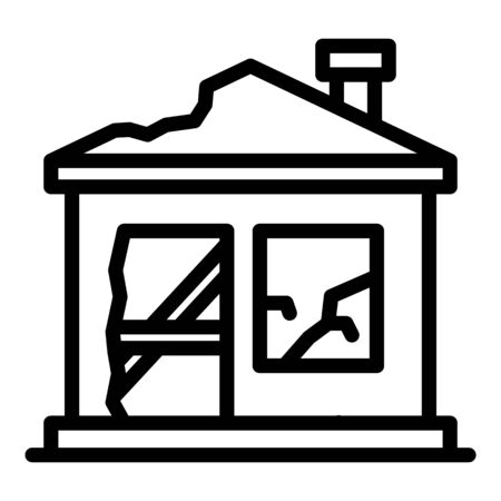 Destroyed home icon, outline style