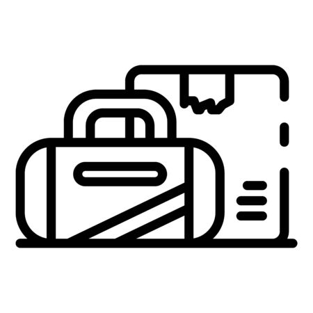 Homeless man bags icon, outline style