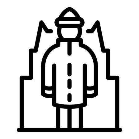 Homeless senior man icon, outline style