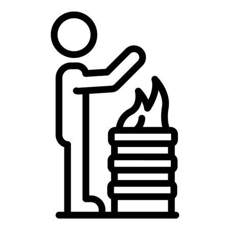 Man near fire barrel icon, outline style