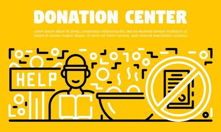 Donation center banner, outline style Illustration
