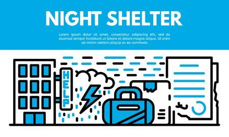 Night shelter banner, outline style Banque d'images - 133388140