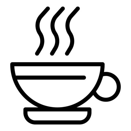 Hot coffee cup icon, outline style