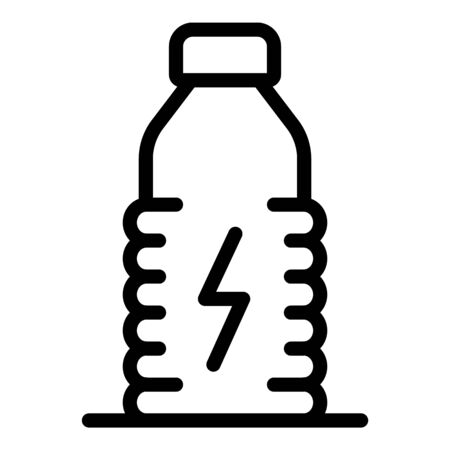 Plastic energetic bottle icon, outline style