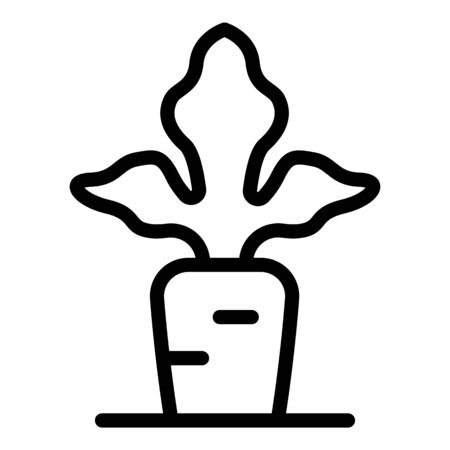 Carrot in ground icon, outline style