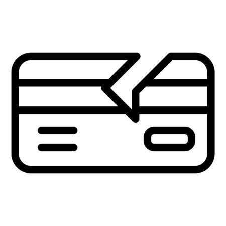 Broken credit card icon, outline style