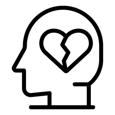 Depression heart man icon, outline style