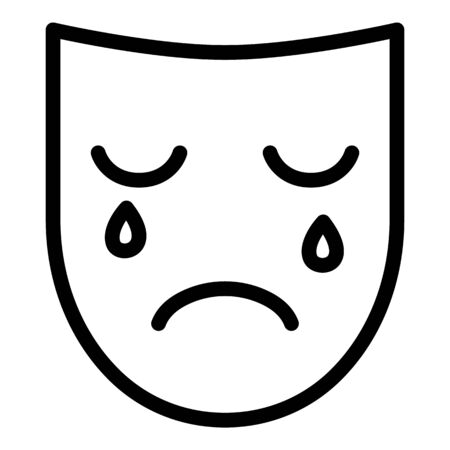 Sad depression mask icon, outline style