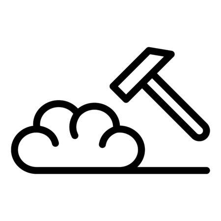 Depression hammer brain icon, outline style