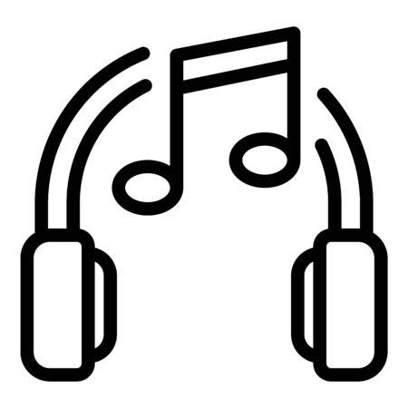 Music headphones icon, outline style Çizim