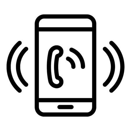 Emergency phone call icon, outline style Stock fotó - 133400562