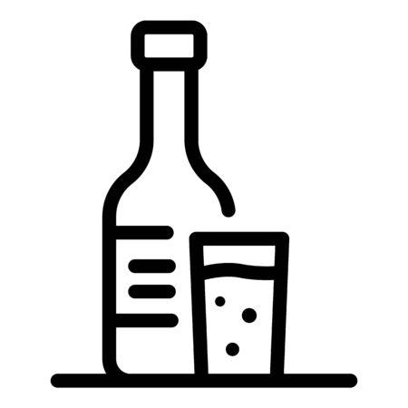 Alcohol bottle icon, outline style Stock Illustratie