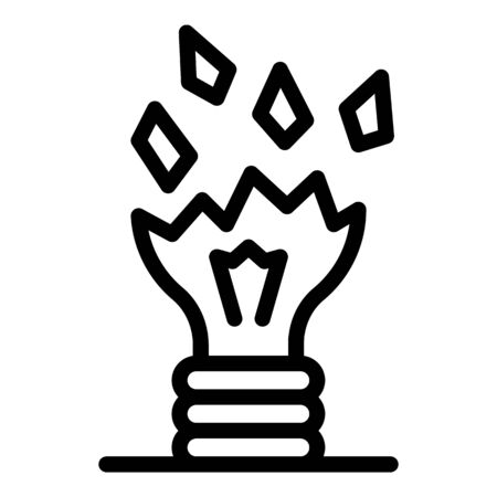Cracked bulb icon, outline style