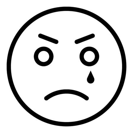 Crying emoji icon, outline style