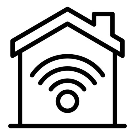 Modern smart home icon, outline style 일러스트