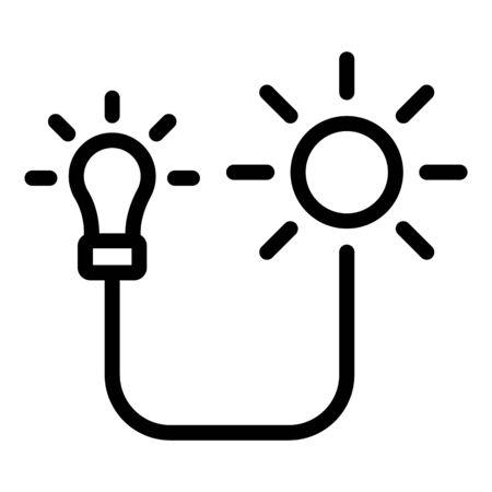 Solar energy bulb icon, outline style