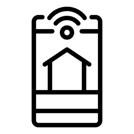 Smartphone home control icon, outline style
