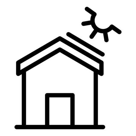 House solar energy icon, outline style