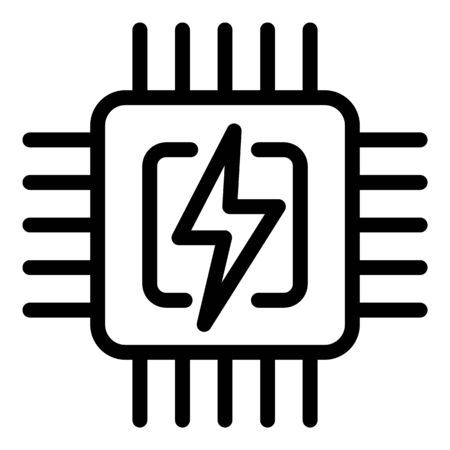 Smart home processor icon, outline style 일러스트