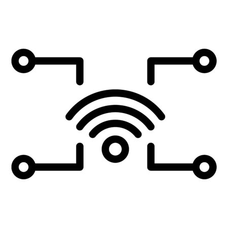 Wifi smart home communication icon, outline style