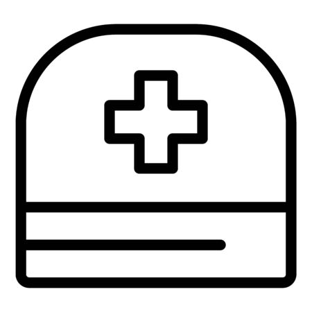 Doctor cross hat icon, outline style